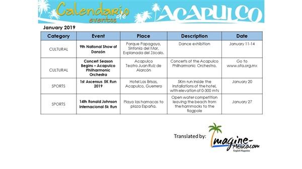 Special Events Calendar for Acapulco,Guerrero for 2019